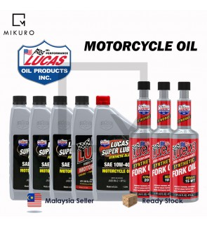 100% ORIGINAL LUCAS MOTORCYCLE OIL 4T FULLY SYNTHETIC / SEMI SYNTHETIC / LUCAS FORK OIL READY STOCK