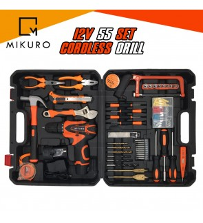 12v Cordless Drill 55pc Set With 2 Battery